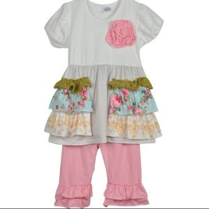 New4T  Girls Boutique Ruffle set with Mock pockets